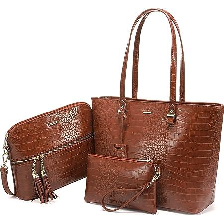 LOVEVOOK Handtasche damen shopper Damen Groß Schultertasche Umhängetasche Damen Tasche für Büro Einkauf Reise Synthetik Leder Handtaschen 3-teiliges Set