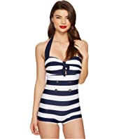 Unique Vintage - Striped Nautical Garbo Suit