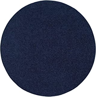 Ambiant Pet Friendly Solid Color Area Rug Navy -2' Round