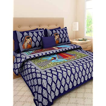 Cottonhandicool Cotton 120 TC Bedsheet (Standard_Blue)