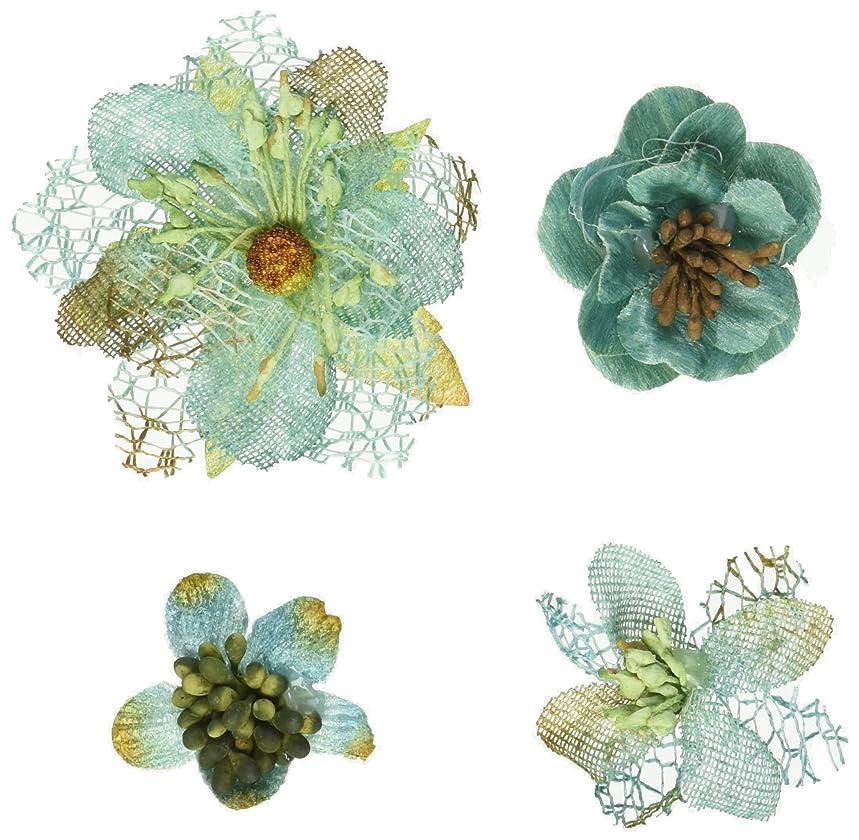 PETALOO Mixed Textured Blossoms 4/Pkg-Teal