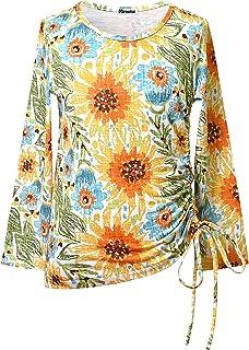 Long Sleeve Tunic Tops for Girls Cotton Shirts Yellow Tee Shirt Blouse 8 9 Winter Outwear Fall Sunflower