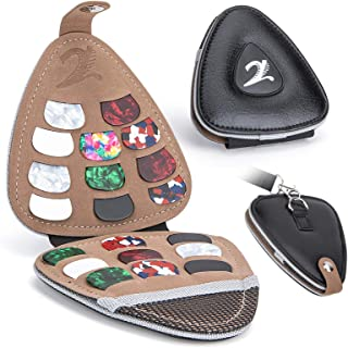 XTON Guitar Picks Holder Case for Acoustic Electric Guitar, Variety Pack Picks Storage Pouch Box, PU leather Guitar Plectr...