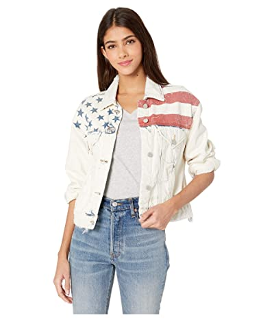 Blank NYC Light Wash Denim Jacket with Flag Detail in Unmet Expectation (Unmet Expectation) Women