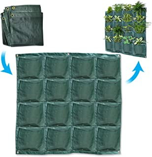 BenefitUSA Wall Pocket Planter 16 Pocket Vertical Wall Hanging Planting Bag Indoor Outdoor Plant Grow Bag (3 Pack)