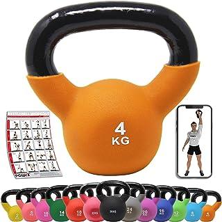 POWRX Kettlebell ghisa 4 kg - Ideale per Esercizi di »Functional Fitness« - Rivestimento in Neoprene & Presa Antiscivolo +...