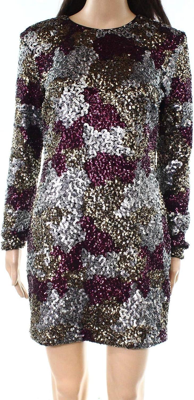 Dress the Population Womens Natasha Sequined Pattern Sheath Mini Dress
