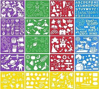 Shengshou ステンシル テンプレート ステンシルシート 描画テプレート ステンシルプレート 手帳用 絵図 アルファベットテンプレート テンプレート 数字/文字/花/アルファベット 21*15cm 20枚セット