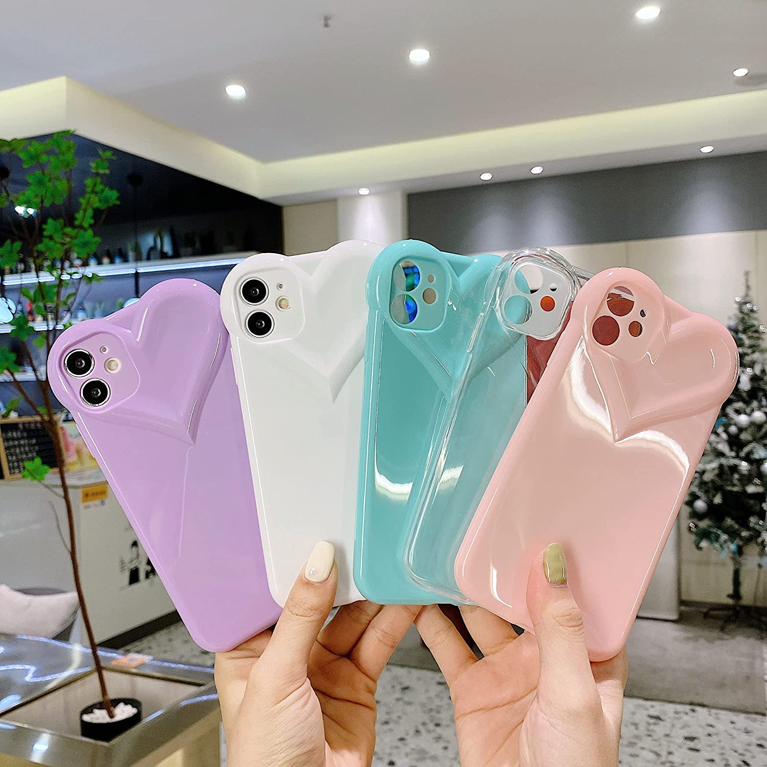 JEUTIEN Cute Stylish iPhone 11 Case for Women & Girls, 3D Love Heart Girly Cover Slim Soft Flexible Glossy Silicone TPU Bumper Protective Phone Case 6.1