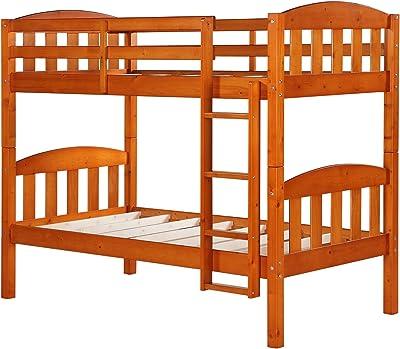 Dorel Asia Solid Wood Pine Bunk Bed, Honey
