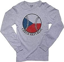 Czech Republic Baseball Classic - World Vintage with Flag Men's Long Sleeve T-Shirt