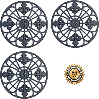 Trivet For Hot Dishes, Pots & Pans. Silicone Hot Pad 'Fleur De Lis' Design (Symbol of Royalty) Mimics Cast Iron Trivets but Without Scratching your Table (7.5 inch Round, Set of 3 Pads, Dark Gray)