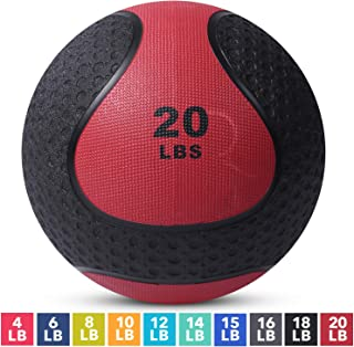 Medicine Exercise Ball with Dual Texture for Superior Grip by Day 1 Fitness - 10 Sizes Available, 4-20 Pounds - Fitness Balls for Plyometrics, Workouts - Improves Balance, Flexibility, Coordination
