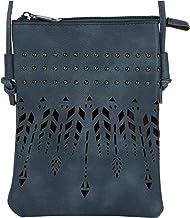styleBREAKER Damen Mini Bag Umhängetasche Ethno Style und Nieten, Schultertasche, Handtasche, Tasche, 02012260, Farbe:Jeansblau
