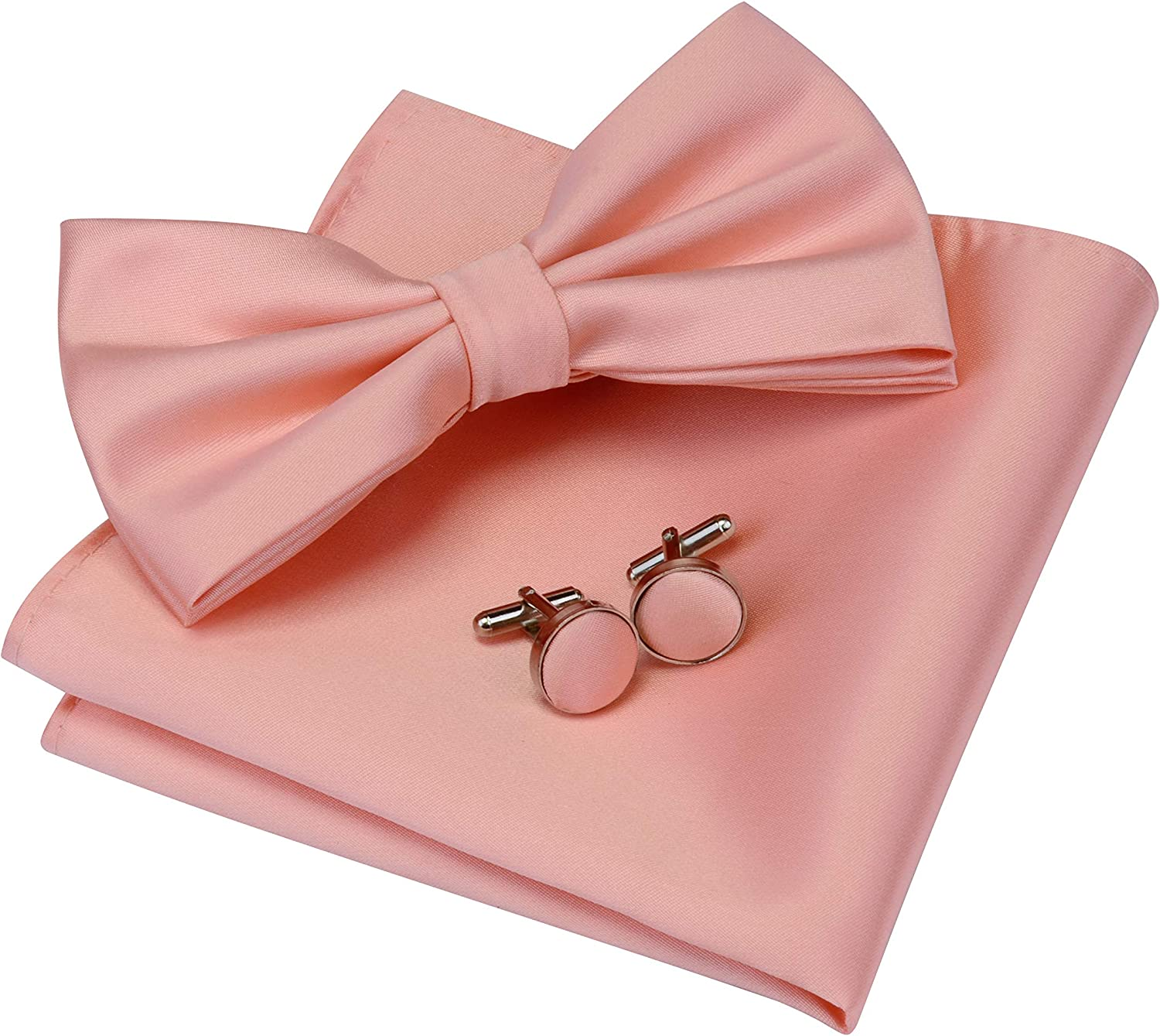 GUSLESON Mens Solid Color Double Fold Pre-tied Bow Tie and Pocket Square Cufflink Set with Gift Box
