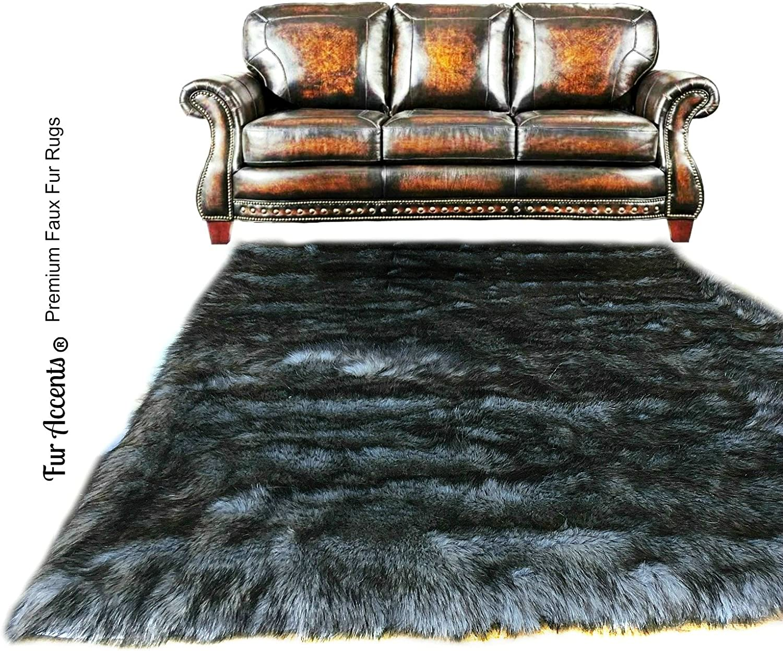 Fur Accents Shag Area Rug - Lowest price challenge Ranking TOP16 Wolf Dark Luxury Carpet S Gray