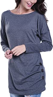 Miss Moly Women's Long Sleeve Blouse T-Shirt Button Decor Casual Tunic Tops