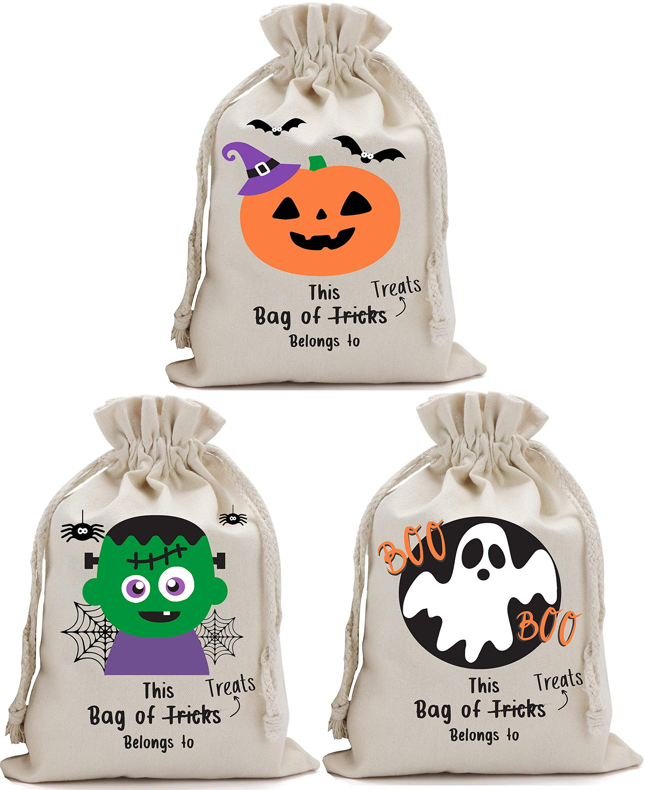 Partay Shenanigans Halloween Bags for Trick or Treat 3 Pack - Halloween Tote Sacks 14 inches x 17 inches
