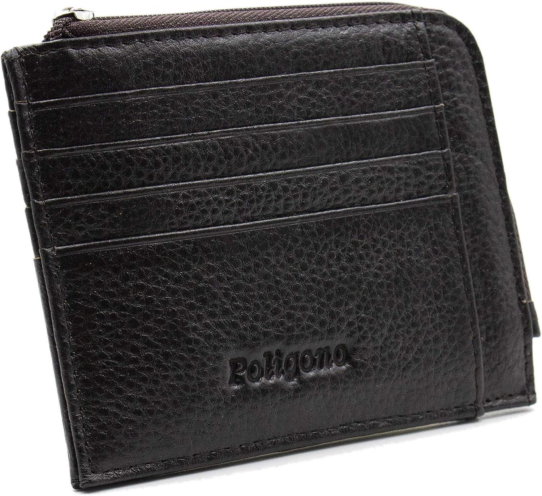 Tarjetero para hombre y mujer, portatarjetas de piel auténtica de 11 x 9 cm, cartera fina y elegante, portadocumentos con bolsillo lateral con cremallera