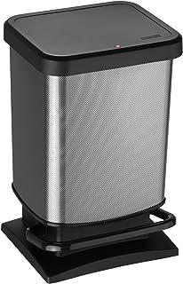 Rotho Paso Poubelle 20l avec pédale et couvercle, Plastique (PP) sans BPA, carbone métallique, 20l (29,3 x 26,6 x 45,7 cm)