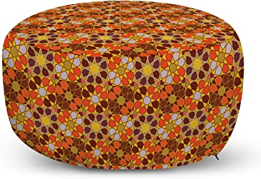Lunarable Retro Ottoman Pouf, Colorful Rhythmic Traditional 70's Vintage Flowers Inspired Motifs Illustration, Decorative Soft Foot Rest with Removable Cover Living Room and Bedroom, Multicolor
