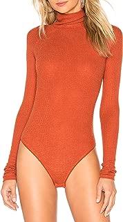 May&Maya Women's Lightweight Thermal Knit Fabric Foldover Neckline Bodysuit Top Blouse Leotard Bodice Jumpsuit
