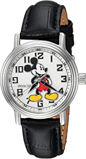 Invicta Women's Disney Limited Edition Stainless Steel Analog-Quartz Watch with Leather Calfskin Strap, Black, 16 (Model: 24547)