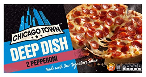 Chicago Town 2 Deep Dish Pepperoni Pizzas, 2 x 160g (Frozen)