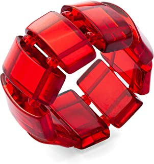 Stretchable Womens Red Amber Ring - size US 8 - Elastic Semi Precious Gemstone Ring for Women - Rectangular beads on Two E...