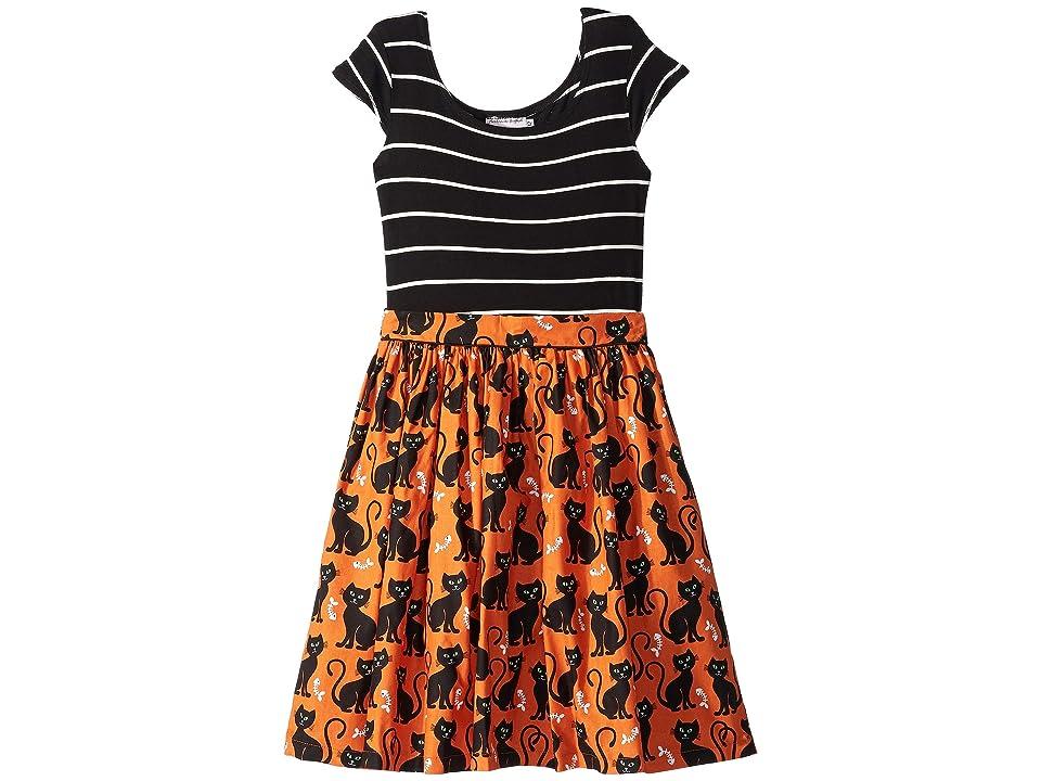 fiveloaves twofish Kitties Maddy Dress (Big Kids) (Orange) Girl
