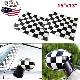 Checker Checkerboard Racing Flag Vinyl Stickers for Mini Cooper Side Mirrors Cover (Left & Right)