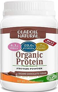 Oladole Natural Plant Based Organic Protein Powder, Creamy Chocolate Fudge - Vegan, Low Net Carbs, Non Dairy, Gluten Free,...