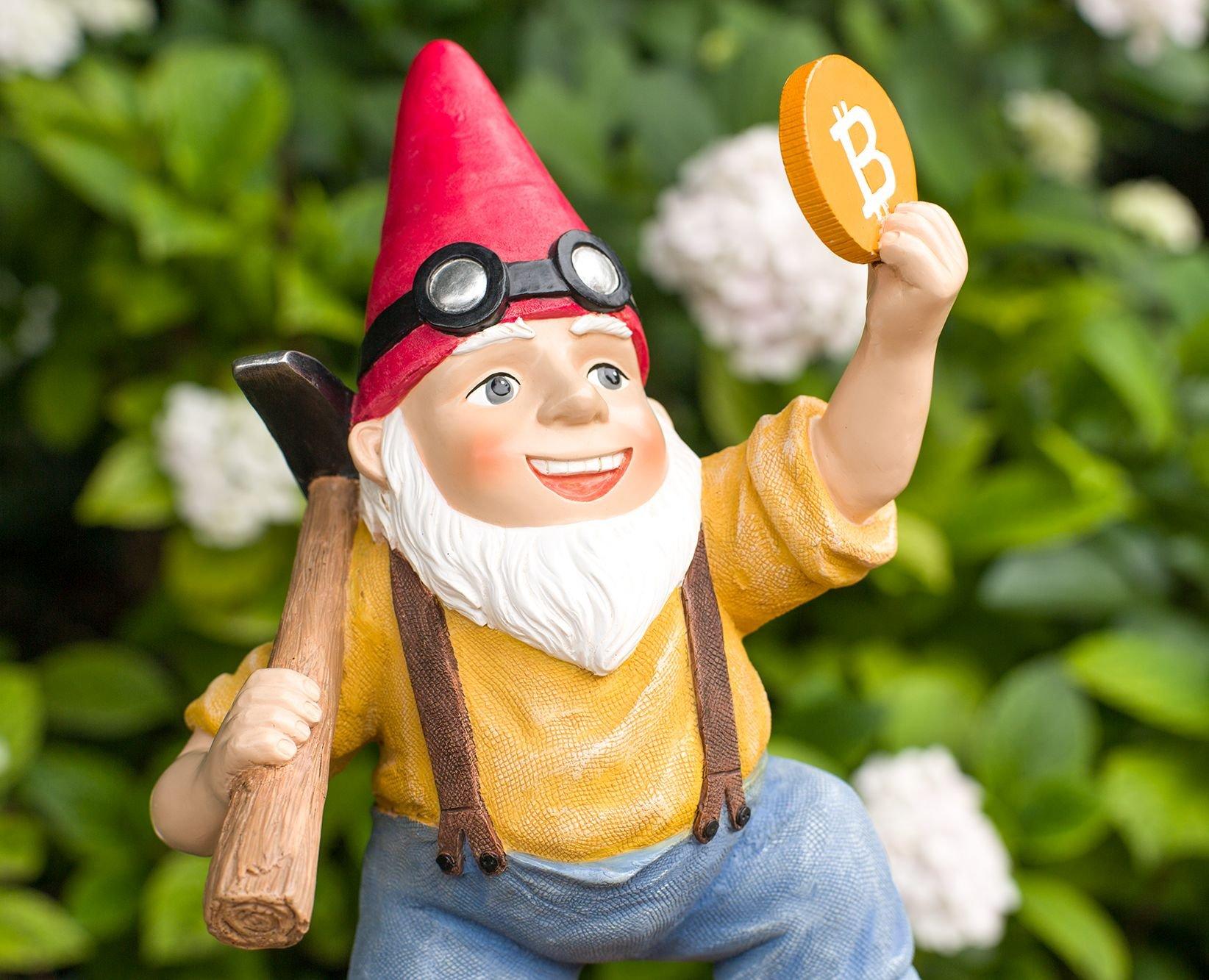 Joykick Bitcoin - Figura Decorativa de jardín Pintada a Mano, 28 x 19 cm, diseño de gnomo de Miner, para Uso en Interiores y Exteriores, Regalo Divertido para decoración del hogar o
