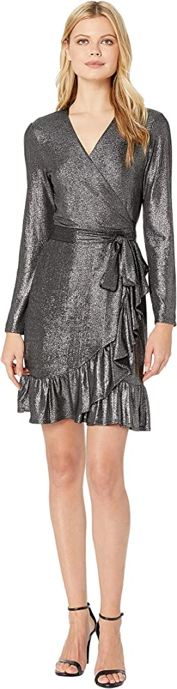 3/4 Sleeve Foil Knit Ruffle Wrap Dress