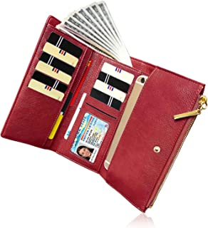 Women Wallet Ladies RFID Long Trifold Card Phone Coin Zipper Purse Organizer Large Capacity (Red)