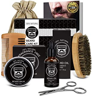 Beard Kit Beard Care & Grooming Kit for Men Gifts, Natural Organic Beard Oil, Beard Balm, Beard Comb, Beard Brush, Beard Scissor, Gift Box, Canvas Carry Bag and E-Book