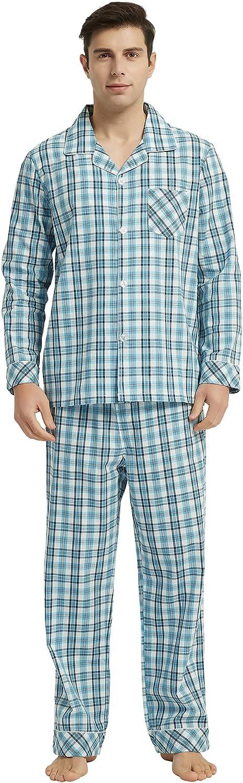 Vulcanodon Mens Cotton Pajama Set, Button Down Woven Pajama Set for Men Plaid Men's Sleepwear