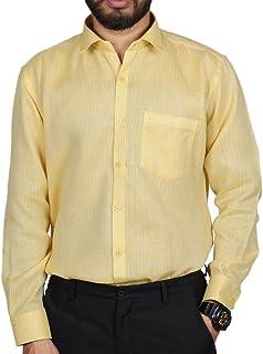 MODS The Light Yellow Self Design Shirt