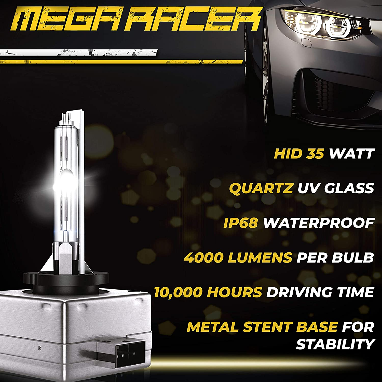 Mega Racer D3S HID Bulb 10000K D3R D3C Bright White 12V Metal Stents Xenon HID Headlights Replacement Headlight Bulb Xenon Light Bulbs 42403 66340 HID Lights D3S Headlight Bulb HID Light Bulbs D3R D3C