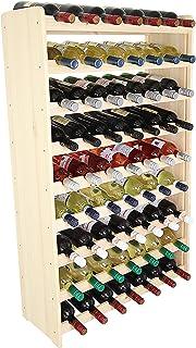 Len Mar.de wijnrek wijnrek hout flessenrek voor 63 flessen massief -63