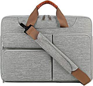 Lacdo 15.6 Inch Laptop Messenger Shoulder Bag, 360° Protective Sleeve Carrying Case Compatible 15-15.6 Acer Aspire, Predator, ASUS P-Series, HP Pavilion, Business Notebook Water Repellent, Gray