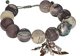 Matte Porcelain Jasper Pull Tie Bracelet