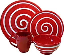 Waechtersbach Freestyle 4-Piece Dinnerware Place Setting, Service for One, Red Swirl