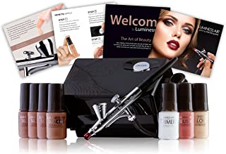 Luminess Air Basic Airbrush System with 7-Piece Silk 4-IN-1 Airbrush Foundation & Cosmetic Starter Kit,  Tan