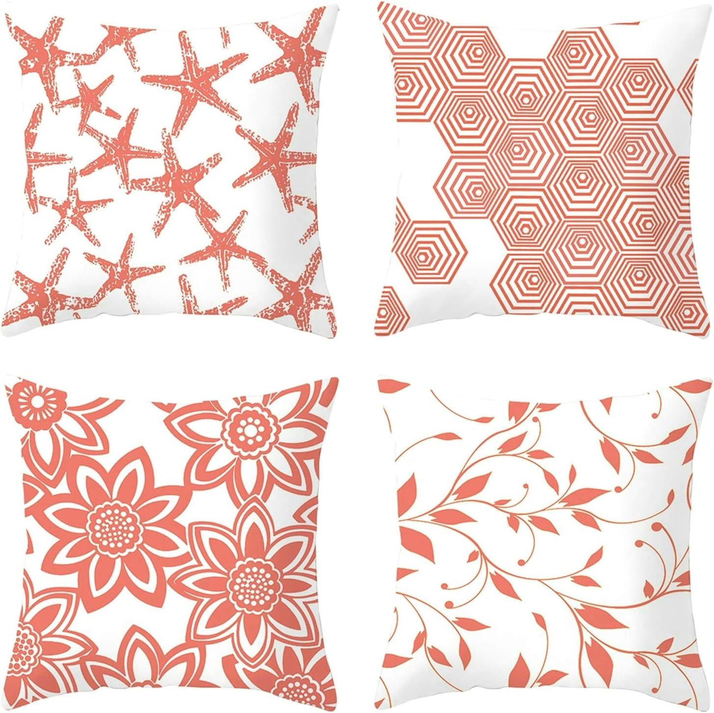 Socoz Juego de 4 fundas de cojín para sofá, 45 x 45 cm, fundas de cojín para sofá rectangulares con estrella marina, flor de mar