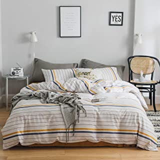 OREISE Duvet Cover Set King Size White Blue Gold Printed Striped Pattern 100% Cotton Bedding Set (1 Duvet Cover + 2 Pillow Shams) with Zipper Closure Soft Breathable Durable