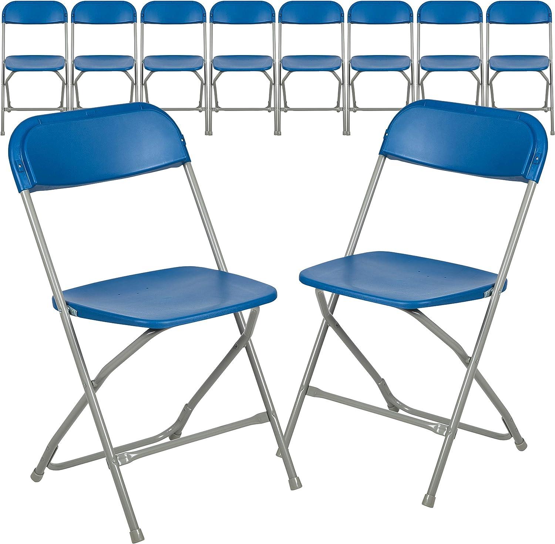 Flash Furniture Hercules Series Plastic Folding Chair - Blue - 10 Pack 650LB Weight Capacity Comfortable Event Chair-Lightweight Folding Chair
