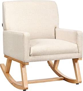 Giantex Upholstered Rocking Chair with Fabric Padded Seat and Solid Wood Base, Comfortable Rocker for Living Room, Bedroo...