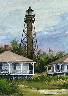 Sanibel Island Lighthouse, Florida. Point Ybel Light. Portrait by Gerald C. Hill. Matted Watercolor Art Prints (5x7)