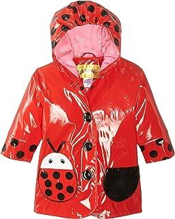 Red Ladybug PU All-Weather Raincoat for Girls With Fun Polka Dots and Ladybug Pocket